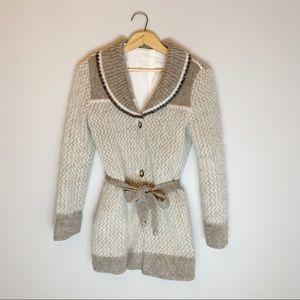Vintage 70s mohair long cardigan sweater coat.